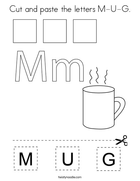 Cut and paste the letters M-U-G. Coloring Page