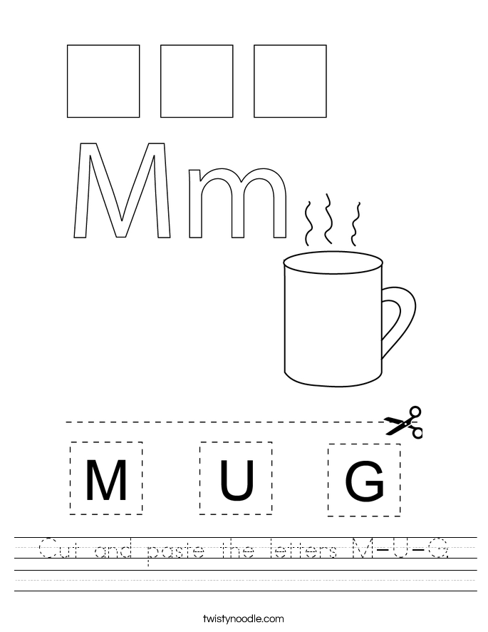 Cut and paste the letters M-U-G. Worksheet