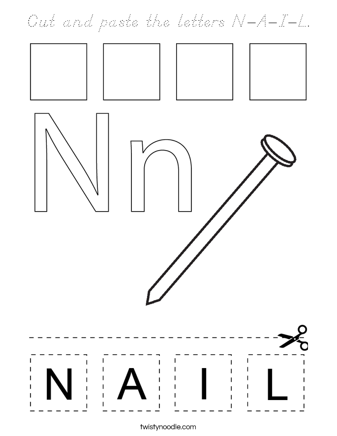 Cut and paste the letters N-A-I-L. Coloring Page