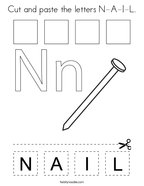 Cut and paste the letters N-A-I-L Coloring Page