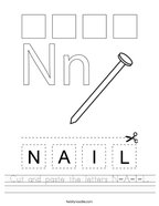 Cut and paste the letters N-A-I-L Handwriting Sheet