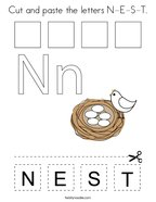 Cut and paste the letters N-E-S-T Coloring Page