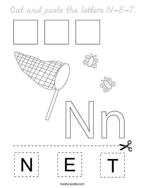 Cut and paste the letters N-E-T. Coloring Page