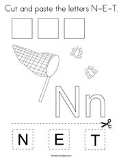 Cut and paste the letters N-E-T Coloring Page