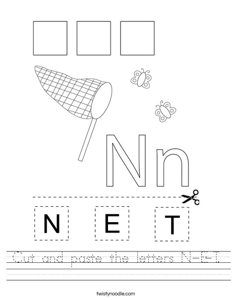 Cut and paste the letters N-E-T. Worksheet
