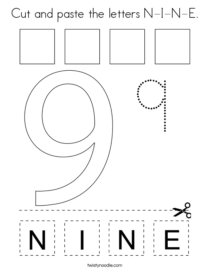 Cut and paste the letters N-I-N-E. Coloring Page