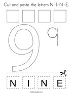 Cut and paste the letters N-I-N-E Coloring Page
