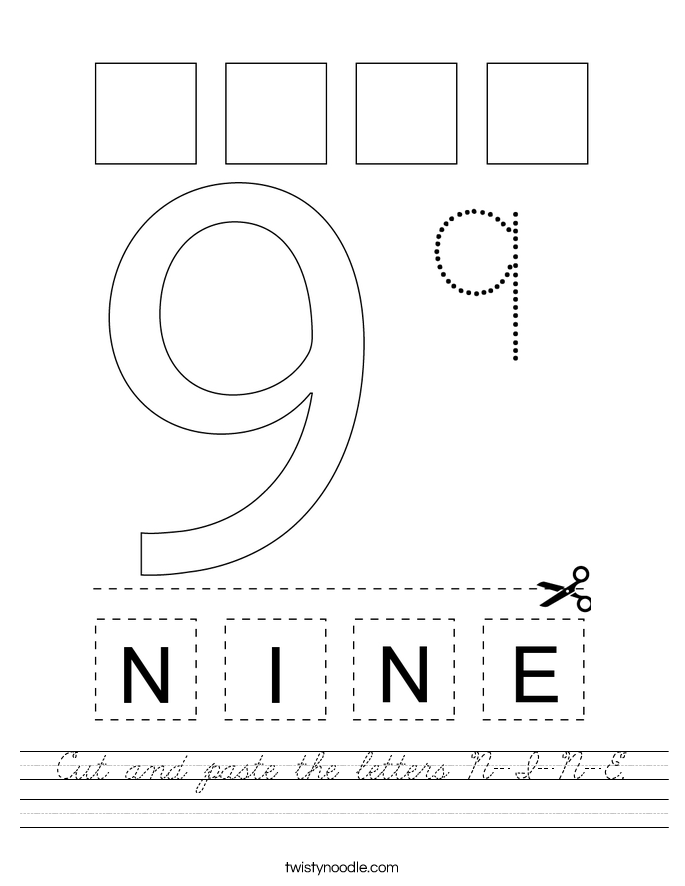 Cut and paste the letters N-I-N-E. Worksheet