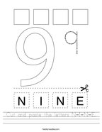 Cut and paste the letters N-I-N-E Handwriting Sheet