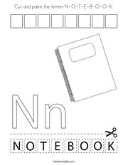 Cut and paste the letters N-O-T-E-B-O-O-K Coloring Page