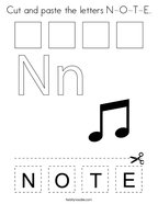 Cut and paste the letters N-O-T-E Coloring Page