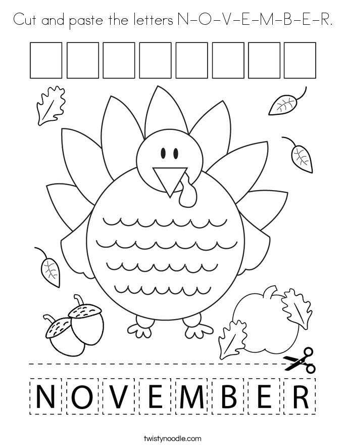 Cut and paste the letters N-O-V-E-M-B-E-R. Coloring Page