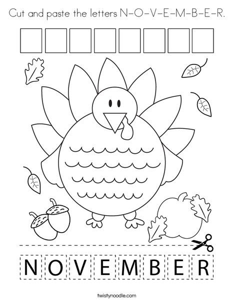 Cut And Paste The Letters N O V E M B E R Coloring Page Twisty Noodle