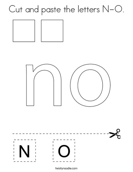 Cut and paste the letters N-O. Coloring Page