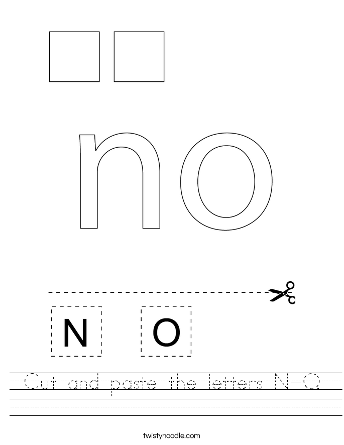 Cut and paste the letters N-O. Worksheet