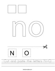 Cut and paste the letters N-O Handwriting Sheet