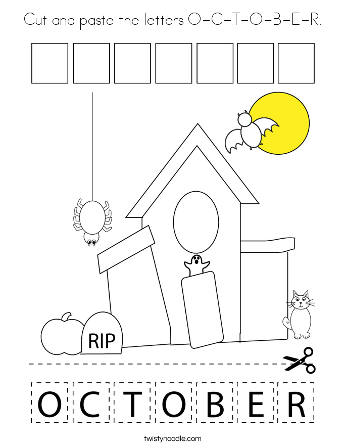 Cut and paste the letters O-C-T-O-B-E-R. Coloring Page