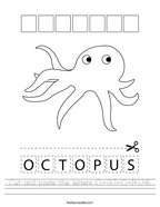 Cut and paste the letters O-C-T-O-P-U-S Handwriting Sheet