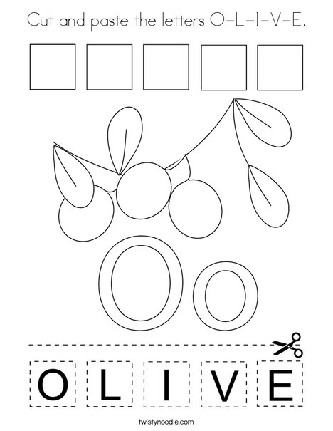 Cut and paste the letters O-L-I-V-E. Coloring Page