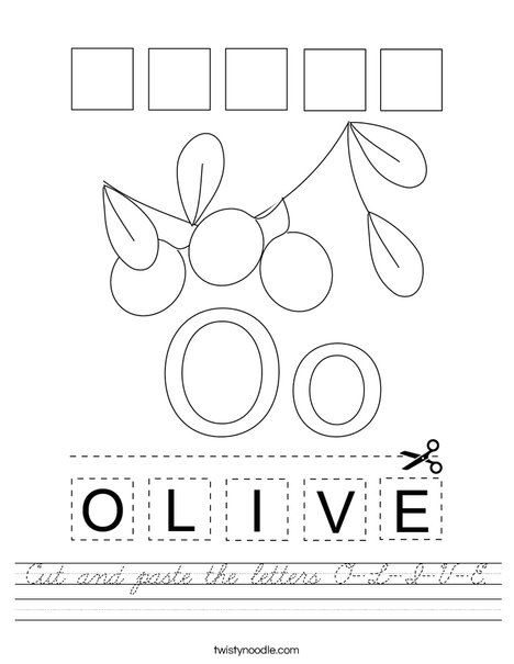 Cut and paste the letters O-L-I-V-E. Worksheet