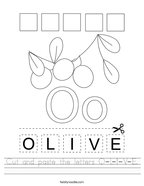Cut and paste the letters O-L-I-V-E Handwriting Sheet