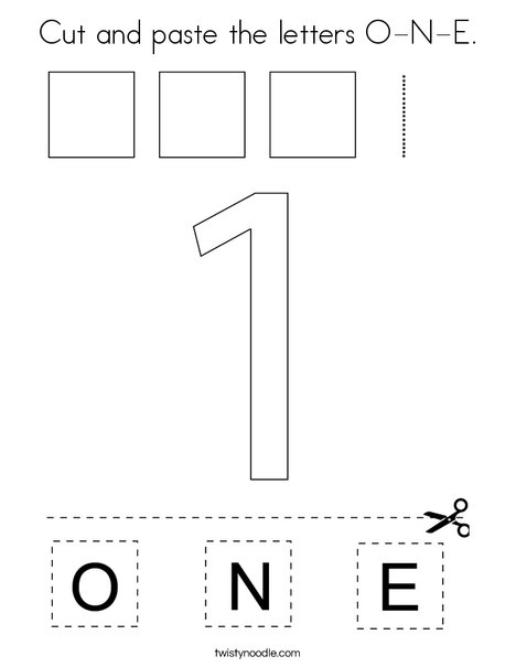 Cut and paste the letters O-N-E. Coloring Page