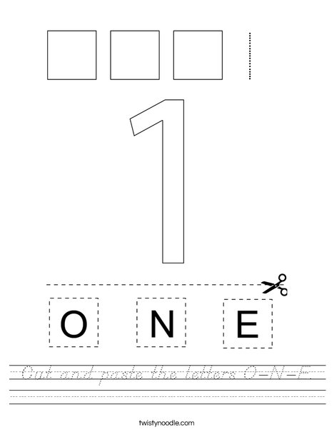 Cut and paste the letters O-N-E. Worksheet