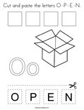 Cut and paste the letters O-P-E-N. Coloring Page