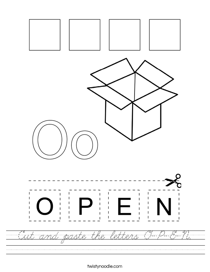 Cut and paste the letters O-P-E-N. Worksheet