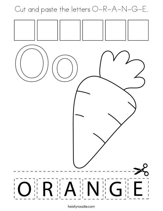 Cut and paste the letters O-R-A-N-G-E. Coloring Page