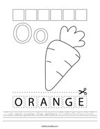 Cut and paste the letters O-R-A-N-G-E Handwriting Sheet