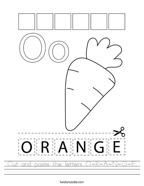 Cut and paste the letters O-R-A-N-G-E. Worksheet