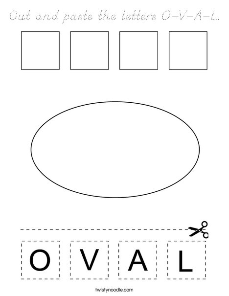 Cut and paste the letters O-V-A-L. Coloring Page