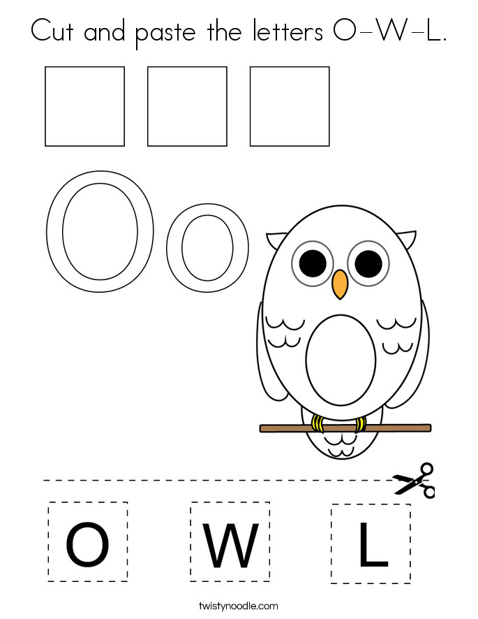 Cut and paste the letters O-W-L. Coloring Page