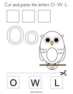 Cut and paste the letters O-W-L Coloring Page