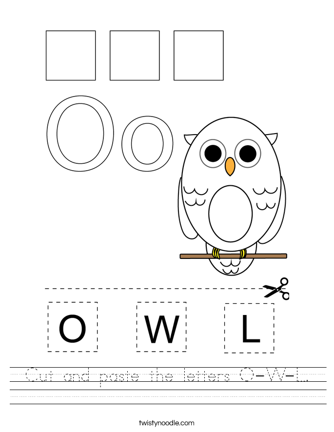 Cut and paste the letters O-W-L. Worksheet