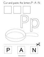 Cut and paste the letters P-A-N Coloring Page