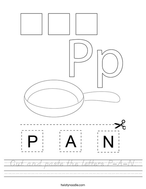 Cut and paste the letters P-A-N. Worksheet