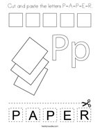 Cut and paste the letters P-A-P-E-R Coloring Page