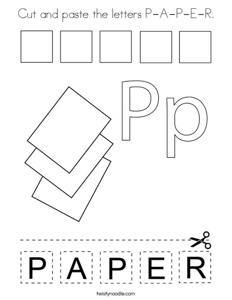 Cut and paste the letters P-A-P-E-R. Coloring Page