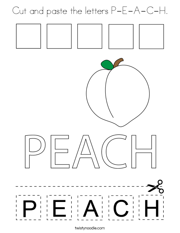 Cut and paste the letters P-E-A-C-H. Coloring Page