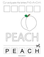 Cut and paste the letters P-E-A-C-H Coloring Page