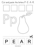 Cut and paste the letters P-E-A-R Coloring Page