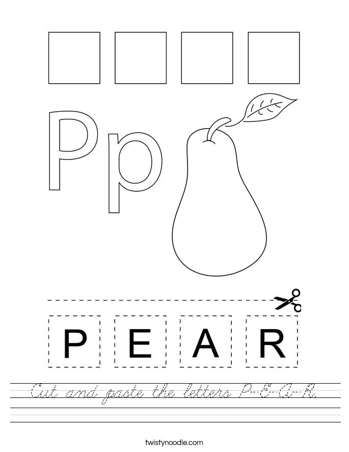 Cut and paste the letters P-E-A-R. Worksheet