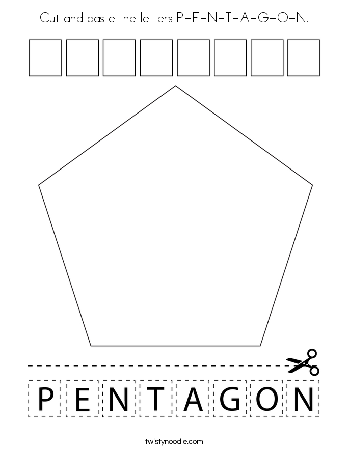 Cut and paste the letters P-E-N-T-A-G-O-N. Coloring Page