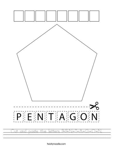 Cut and paste the letters P-E-N-T-A-G-O-N. Worksheet