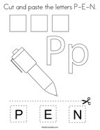 Cut and paste the letters P-E-N Coloring Page