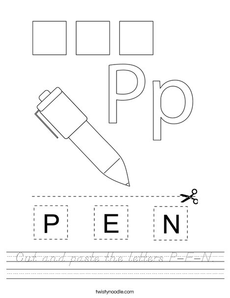 Cut and paste the letters P-E-N. Worksheet