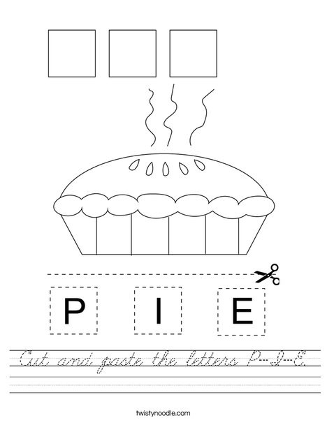 Cut and paste the letters P-I-E. Worksheet