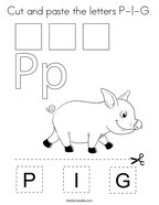 Cut and paste the letters P-I-G Coloring Page